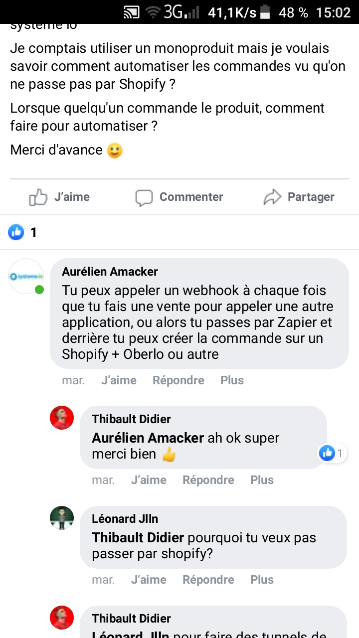 Facebook groupe systeme io ecommerc