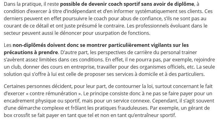 Article coach sportif legislation